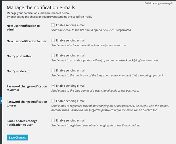 wordpress admin email notifications